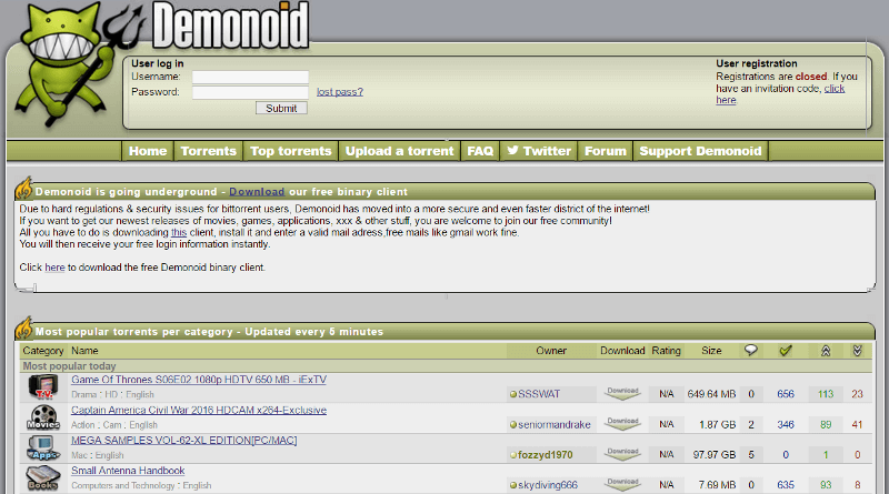 Demonoid search site
