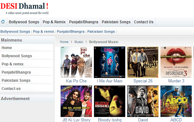 hindi movie songs website list